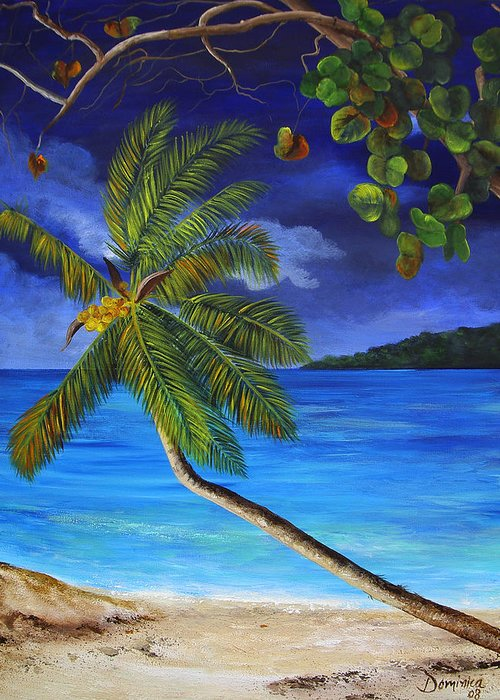 Beach Greeting Card featuring the painting The Beach At Night by Dominica Alcantara