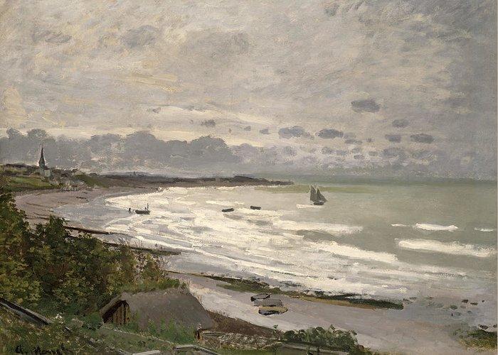 The Beach At Sainte Adresse Greeting Card featuring the painting The Beach At Sainte Adresse by Claude Monet