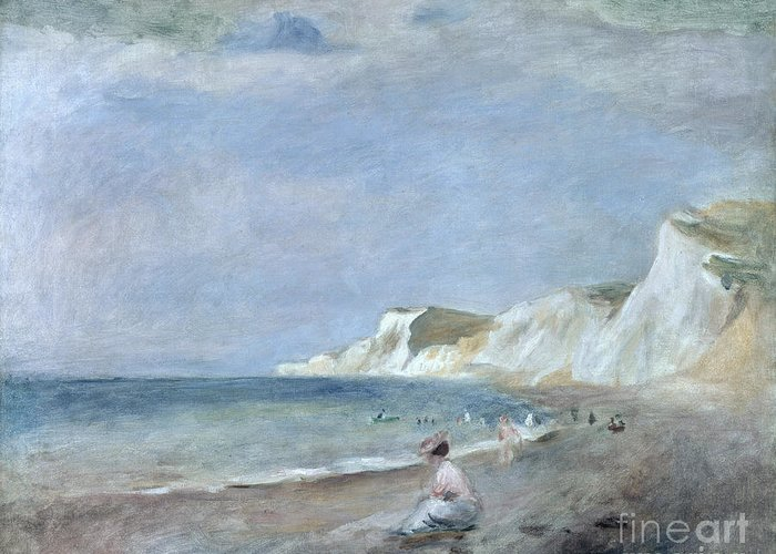 The Greeting Card featuring the painting The Beach At Varangeville by Renoir