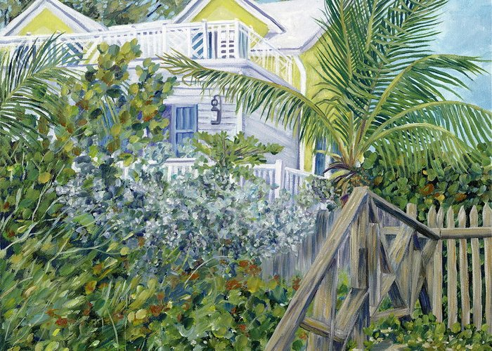 Beach House Greeting Card featuring the painting The Beach House by Danielle Perry