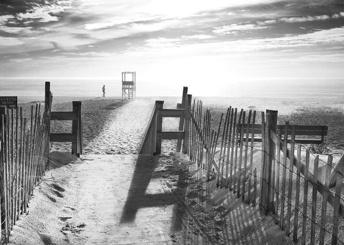 The Beach Greeting Card featuring the photograph The Beach In Black And White by Dapixara Art