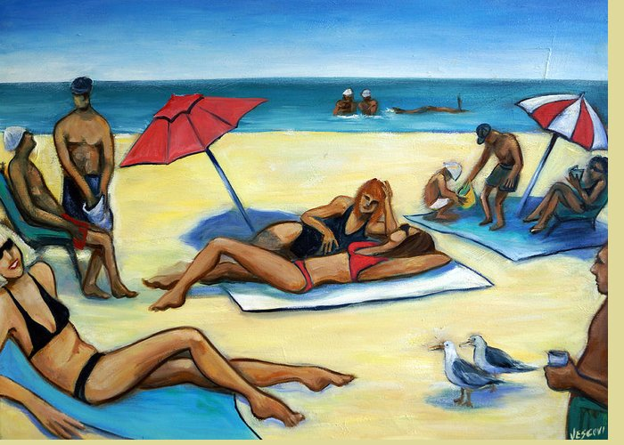 Beach Scene Greeting Card featuring the painting The Beach by Valerie Vescovi