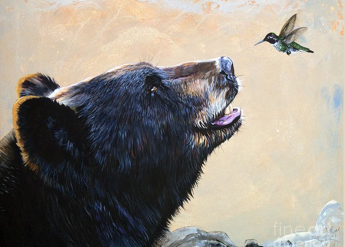 Bear Greeting Card featuring the painting The Bear and the Hummingbird by J W Baker