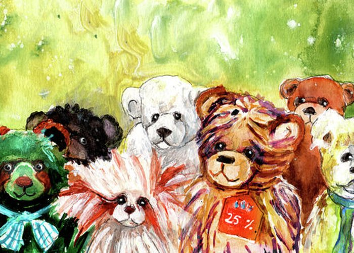 Truffle Mcfurry Greeting Card featuring the painting The Bears From The Yorkshire Moor 02 by Miki De Goodaboom