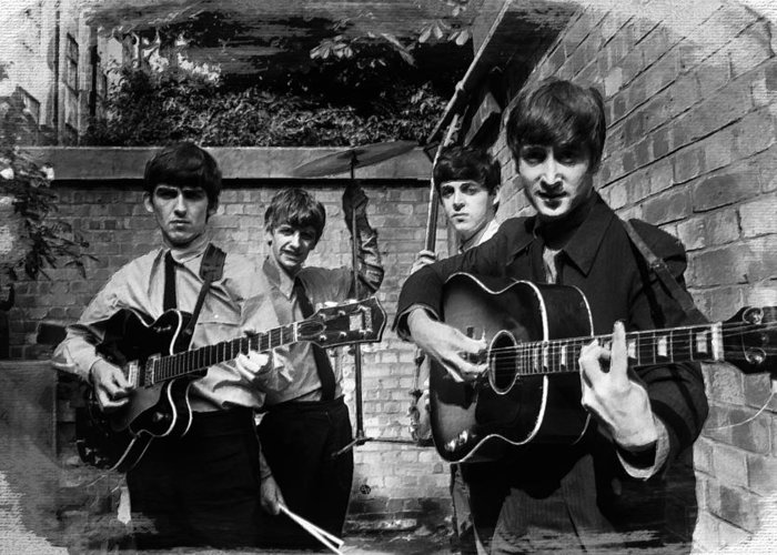 The Beatles Greeting Card featuring the painting The Beatles In London 1963 Black And White Painting by Tony Rubino