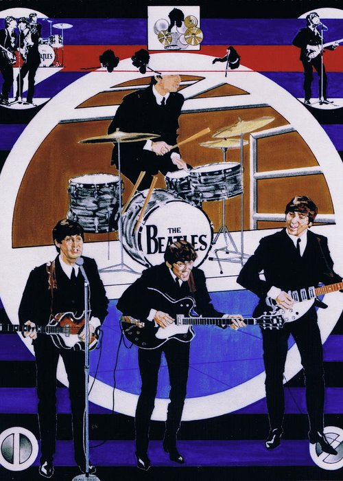 1960s Greeting Card featuring the drawing The Beatles - Live On The Ed Sullivan Show by Sean Connolly