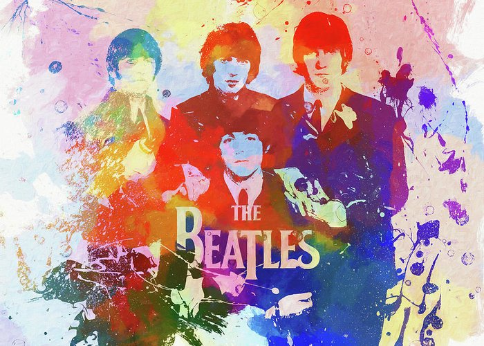 The Beatles Watercolor Greeting Card featuring the painting The Beatles Paint Splatter by Dan Sproul