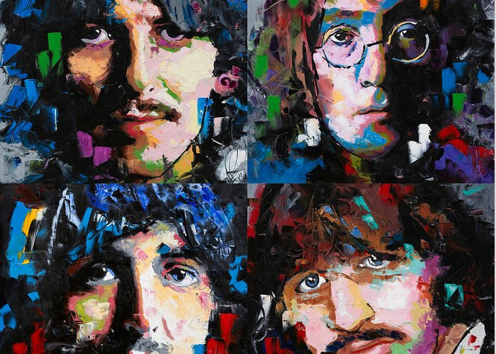 The Beatles Greeting Card featuring the painting The Beatles by Richard Day