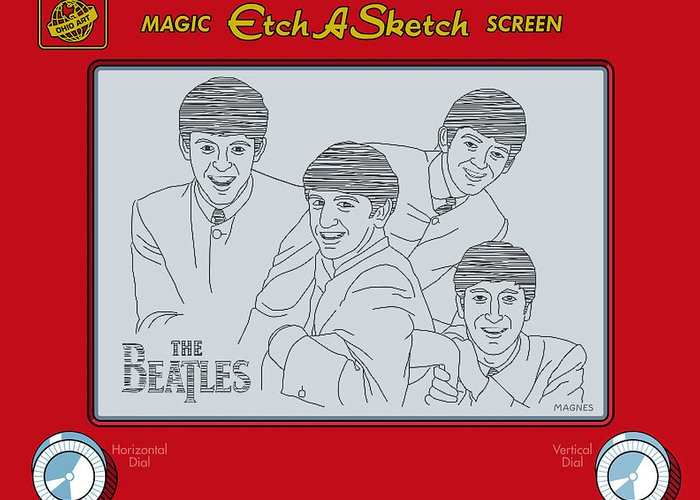 Beatles Greeting Card featuring the digital art The Beatles by Ron Magnes