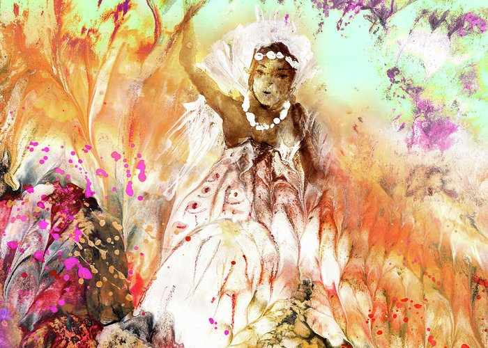 Fantasy Greeting Card featuring the painting The Beautiful Black Bride by Miki De Goodaboom