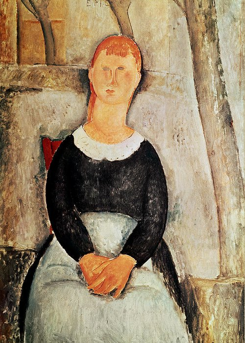 The Greeting Card featuring the painting The Beautiful Grocer by Amedeo Modigliani