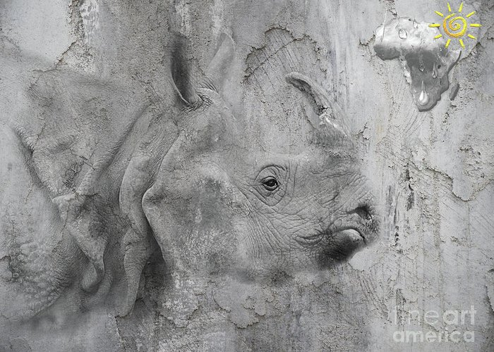 Rhino Greeting Card featuring the digital art The Beautiful Rhino by Maria Astedt