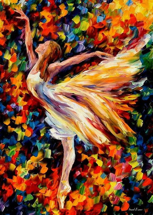 Afremov Greeting Card featuring the painting The Beauty Of Dance by Leonid Afremov