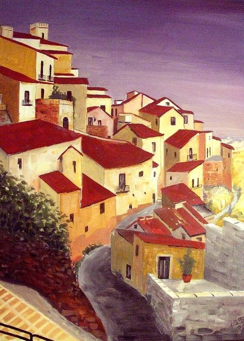 House Greeting Card featuring the painting the beauty of Sicily by Anthony Meton