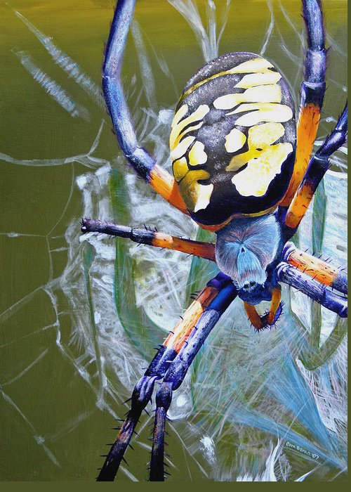 Spider Greeting Card featuring the painting The Beauty Of Writing by Cara Bevan