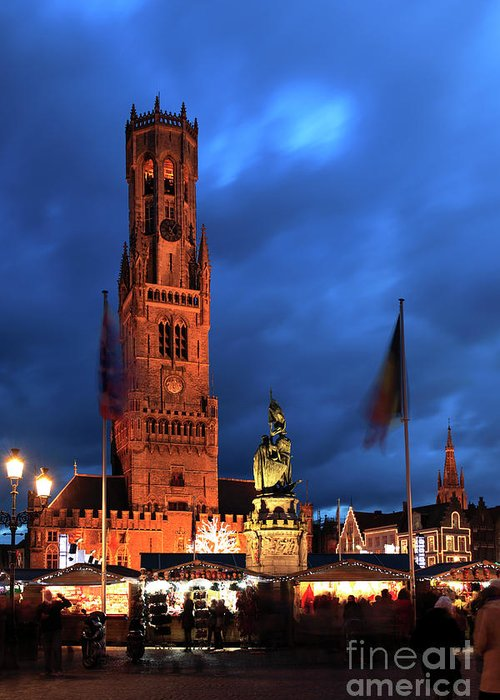 Belfort Greeting Card featuring the photograph The Belfort Tower, Belfry, Bruges City, West Flanders by Dave Porter