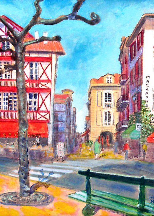 Cityscape Greeting Card featuring the painting The Bench by Aymeric NOA