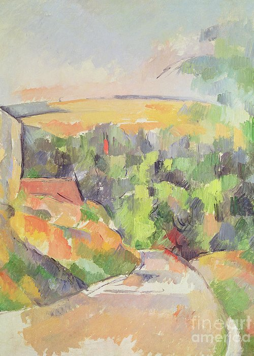 Cezanne Greeting Card featuring the painting The Bend In The Road by Paul Cezanne