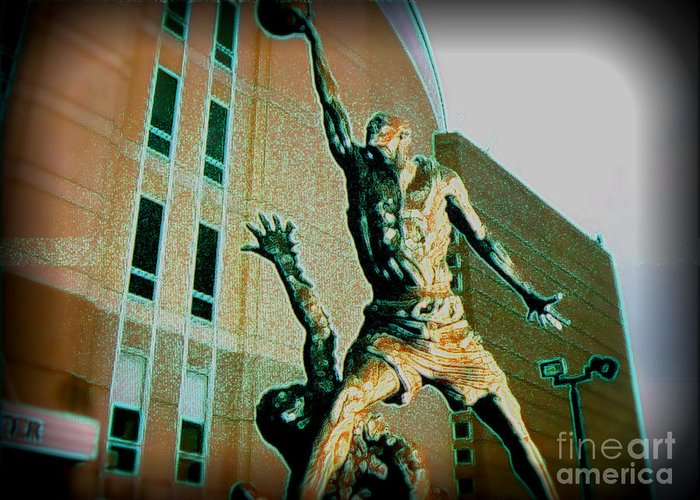Michael Jordan Greeting Card featuring the digital art The Best by Brandon Ramquist