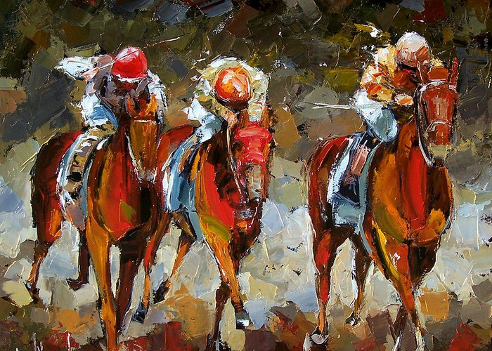 Horse Race Greeting Card featuring the painting The Best by Debra Hurd