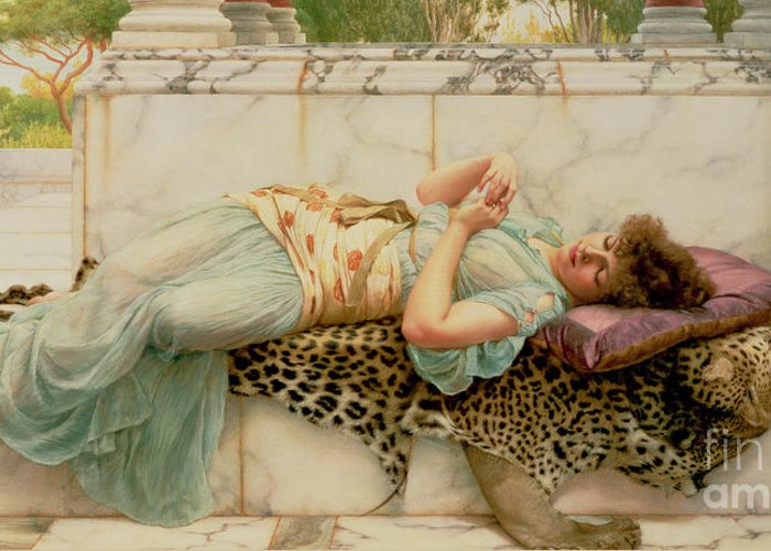 The Betrothed Greeting Card featuring the painting The Betrothed by John William Godward