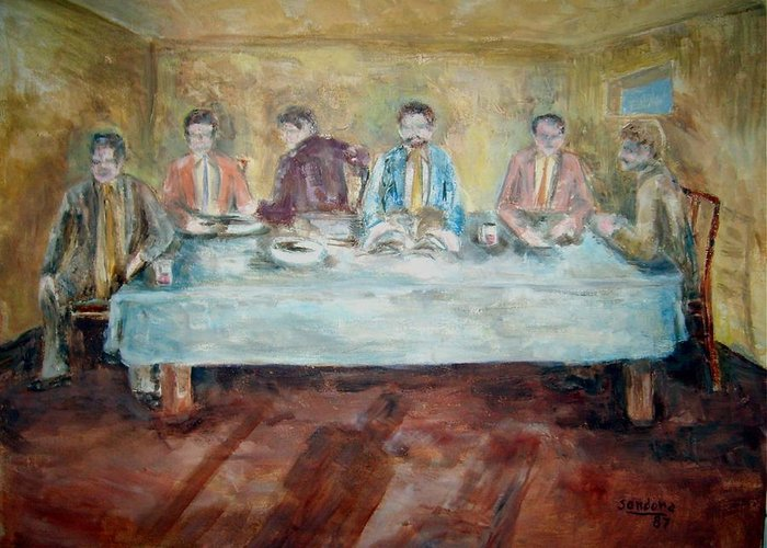 People Religious Room Table Greeting Card featuring the painting The Bible Study by Joseph Sandora Jr