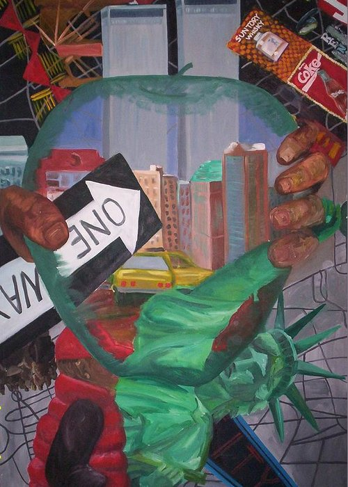 New York Greeting Card featuring the painting The Big Apple by Lauren Luna