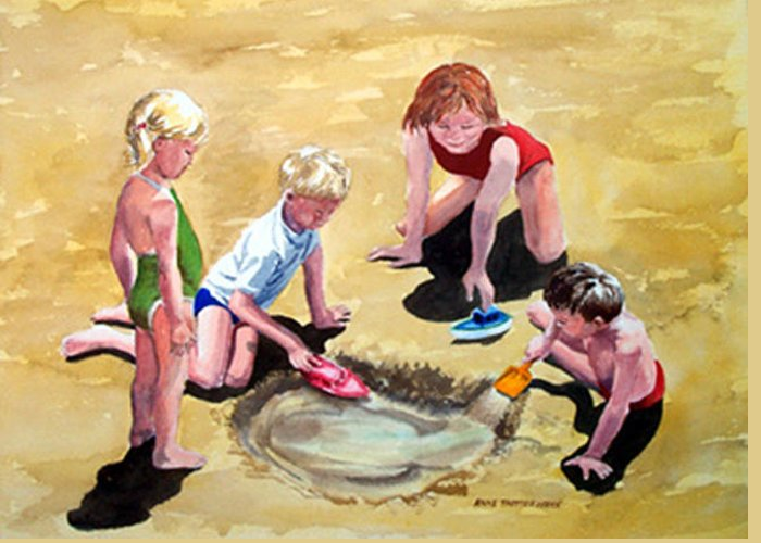 Children At Play Greeting Card featuring the painting The Big Dig by Anne Trotter Hodge