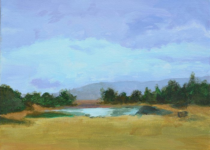 Landscape Greeting Card featuring the painting The Big Thaw by Mary Chant