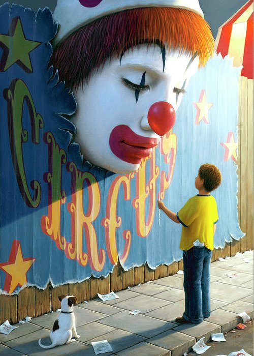 Clown Greeting Card featuring the painting The Big Top by Brian McCarthy