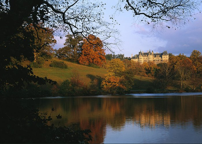 North America Greeting Card featuring the photograph The Biltmore Estate Is Reflected by Melissa Farlow