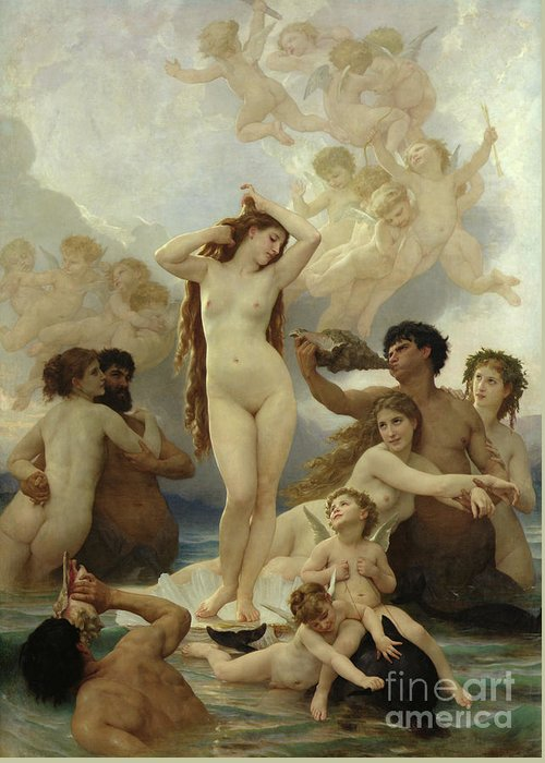 The Greeting Card featuring the painting The Birth Of Venus by William-Adolphe Bouguereau