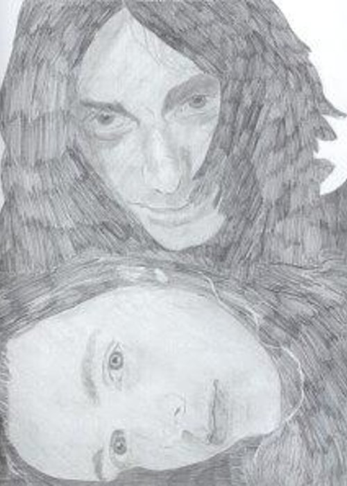 The Black Crowes Greeting Card featuring the drawing The Black Crowes by Bari Titen
