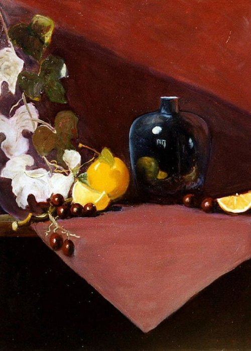 Still Life Greeting Card featuring the painting The Black Vase by Jeanene Stein