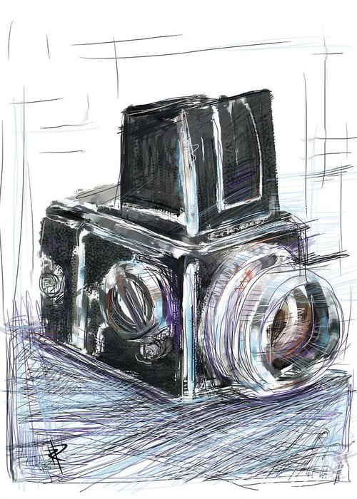 Hasselblad Greeting Card featuring the mixed media The Blad by Russell Pierce