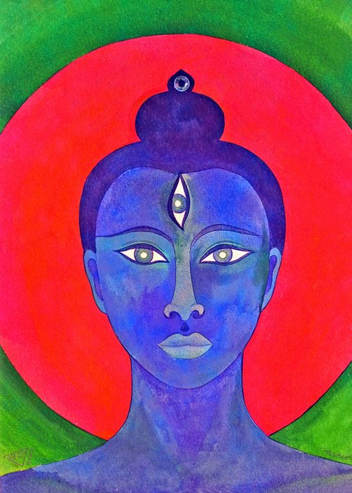 Head Of Meditation Buddha Greeting Card featuring the painting The Blue Buddha by Jennifer Baird