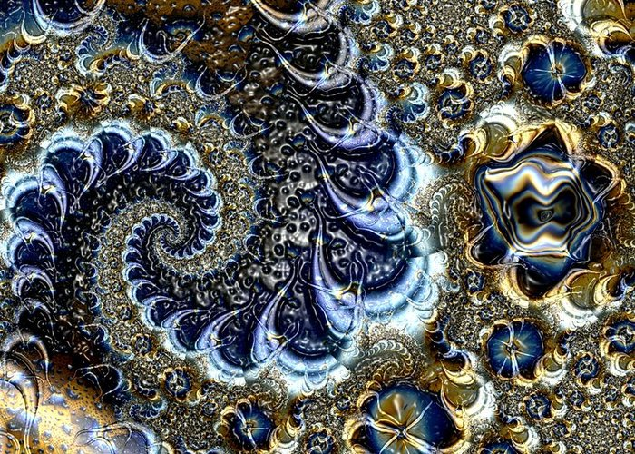 Fractal Diamonds Blue Jewel Dance River Greeting Card featuring the digital art The blue diamonds by Veronica Jackson