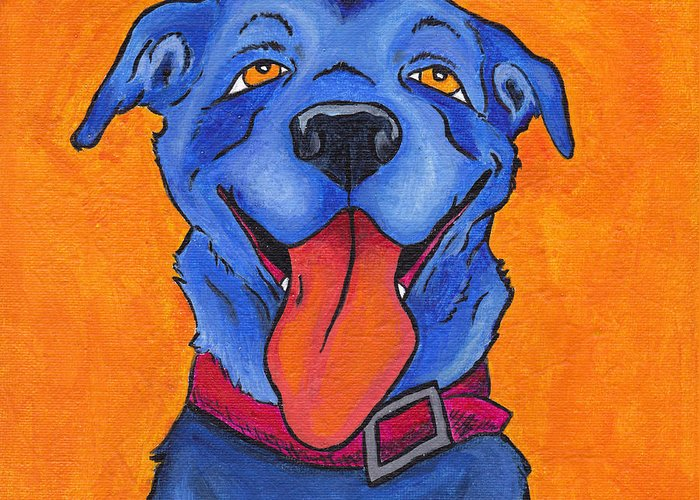 Dog Greeting Card featuring the painting The Blue Dog Of Sandestin by Robin Wiesneth