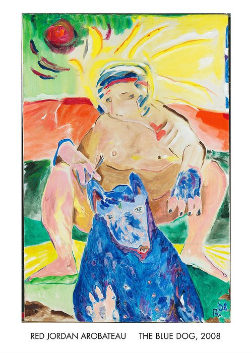 Spiritual Greeting Card featuring the painting The Blue Dog by Red Jordan Arobateau