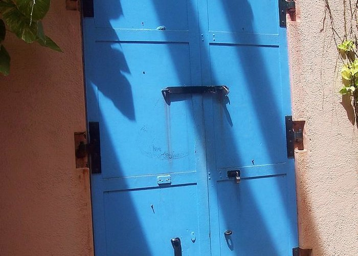 Architecture Greeting Card featuring the photograph The Blue Door by Debbi Granruth