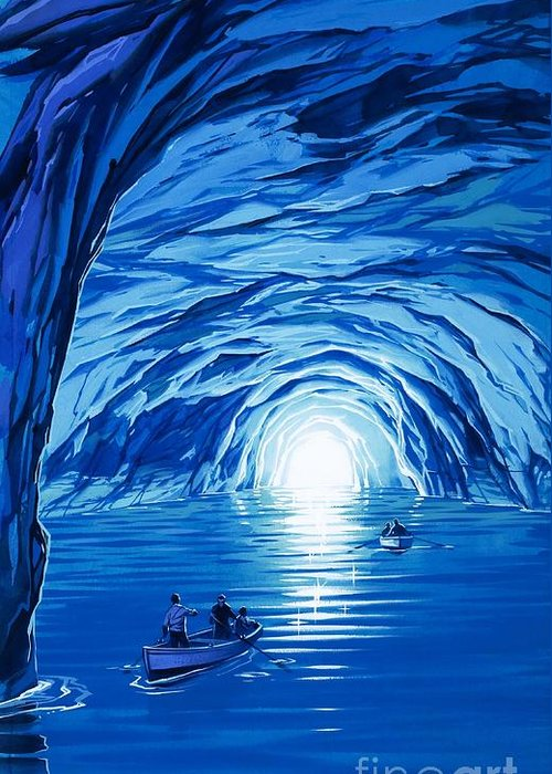 Blue Grotto; Capri; La Grotta Azzurra; Italy; Cave; Sea; Mediterranean; Blue; Colour Greeting Card featuring the painting The Blue Grotto In Capri By Mcbride Angus by Angus McBride