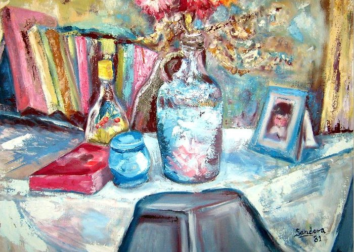Still Life Blue Jug Flowers Greeting Card featuring the painting The Blue Jug by Joseph Sandora Jr