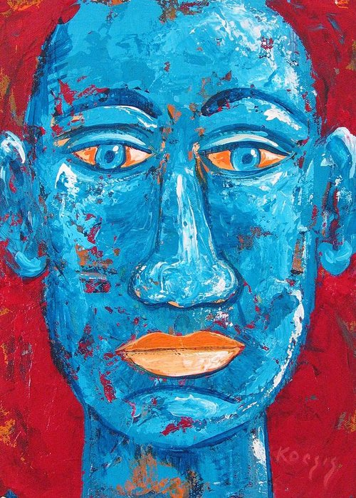 Man Greeting Card featuring the painting Contemplative Blue by Rollin Kocsis