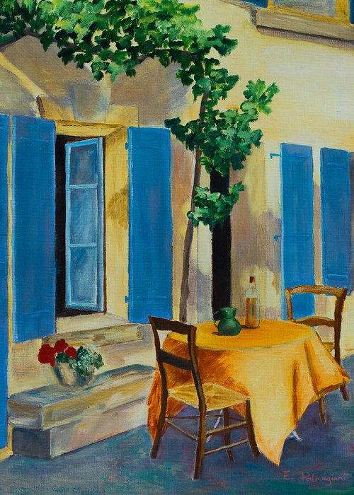 Blue Shutters Greeting Card featuring the painting The Blue Shutters by Elise Palmigiani