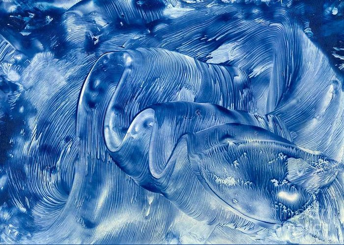 Abstract Greeting Card featuring the painting The Blue Wave by Heather Hennick