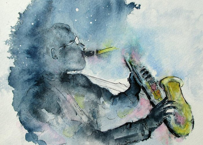 Watercolor Greeting Card featuring the painting The Blues In The Night by April McCarthy-Braca