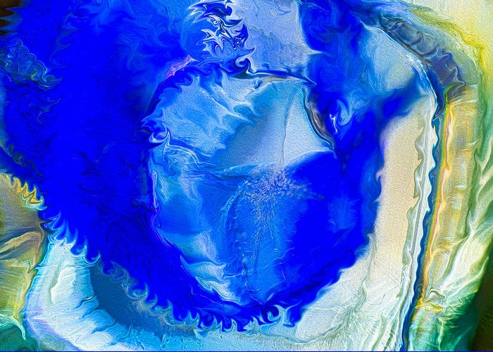 Blue Greeting Card featuring the painting The Blues by Omaste Witkowski