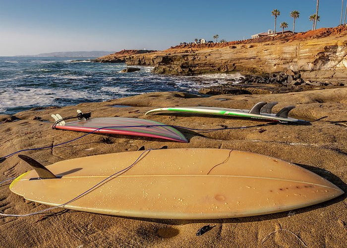 Surfboards Greeting Card featuring the photograph The Boards by Peter Tellone