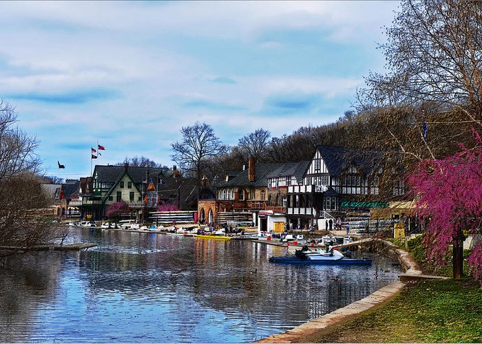 Philadelphia Greeting Card featuring the photograph The Boat House Row by Bill Cannon
