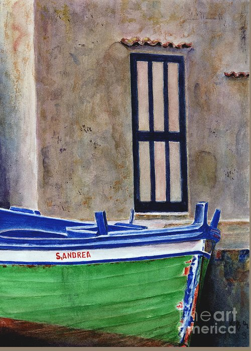 Boat Greeting Card featuring the painting The Boat by Karen Fleschler